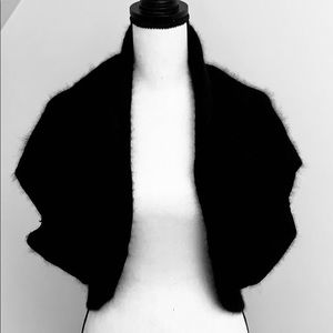 Sweaters - Black Rabbit fur and angora shrug
